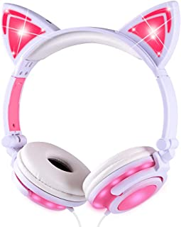 Cat Ears Headphones with Growing Lights, Kids Headphones Foldable and Adjustable Safe Wired Kids Headsets, Cute Pink On Ear Headphones for Girls