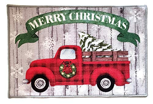 Christmas Vintage Country Truck Decoration Door Mat Kitchen Rug 20 x 30 Inches