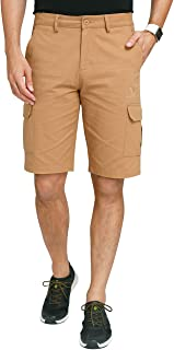 CAMEL CROWN Cargo Shorts for Men Classic Fit Twill Cotton Casual Work Shorts with Multi Pockets Outdoor Hiking