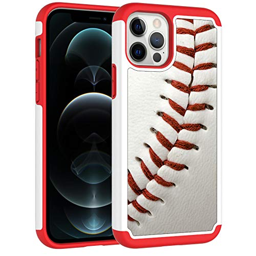 iPhone 12 Case,iPhone 12 Pro Phone Cover - Baseball Sports Pattern Shock-Absorption Hard PC and Inner Silicone Hybrid Dual Layer Armor Defender Case for Apple iPhone 12 iPhone 12 Pro(6.1 inch)