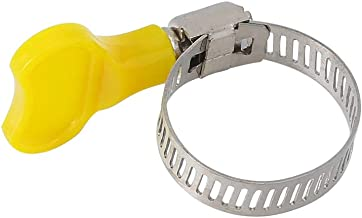 Metalwork Key-Type Adjustable Stainless Steel Hose Clamp W/Yellow Plastic Handle, Pipe Clamp, Worm Gear Clamps Ideal for Plumbing, Automotive (Pack of 10, 10-16mm)