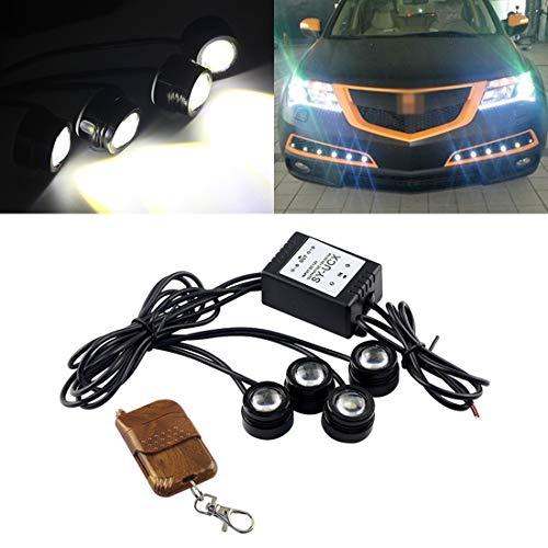 Autolampen, 4 x 1,5 W, LED, met draadloze afstandsbediening, autoverlichting