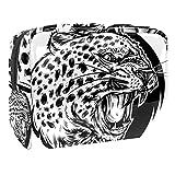 Kit de Maquillaje Neceser Leopardo Blanco Negro Make Up Bolso de Cosméticos Portable Organizador Maletín para Maquillaje Maleta de Makeup Profesional 18.5x7.5x13cm