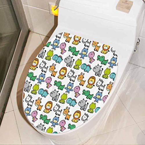 Funny Stickers Bat Rhino Fun Illustration Toilet seat Bathroom Vinyl Decal 3D Toilet Funny Bathroom Seat Decor, W30xH36 cm