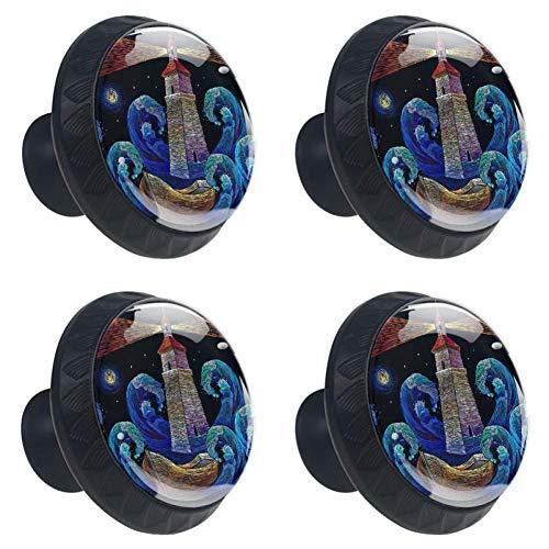 TIZORAX Stickerei Leuchtturm Boot Meer Wellen Schublade Knöpfe Stoßgriffe 30mm 4 Stücke Glas Schublade Zieht für Home Küchenschrank