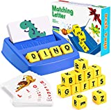 DQMOON Educational Toys for Kids 3-8 Year Olds,Fun Matching Letter Spelling Flash Cards Toy Toddlers Preschooler Learning Sight Words Aid Tool Toys Birthday for Girls Boys