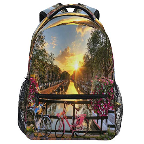 Oarencol Mochila para bicicleta, rio amanecer, primavera, flor de atardecer