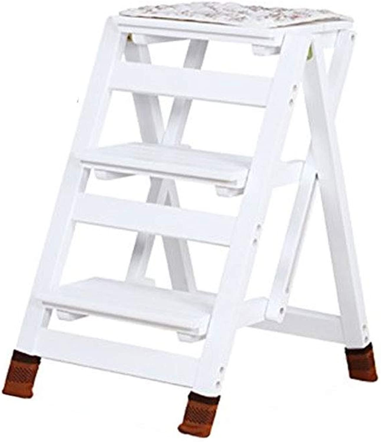 TLTLTD Step Stool, Three-layer Folding Dual-purpose Step Stool Dual-use Household Small Wooden Ladder Multi-function Flower Stand Ladder Solid Wood Contraction Ladder (color  White) (color   White)