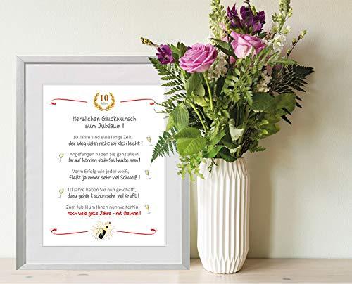 Zum Jubiläum - liebevoll gestaltetes Geschenk zum Jubiläum - Firmenjubiläum, Geschäftsjubiläum, Jubiläumsgeschenk - 24 x 30 cm mit Passepartout - ohne Rahmen