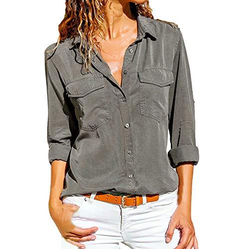 SHOBDW Moda para Mujer Casual Cuello con Solapa Camiseta Oficina Señoras Camisa botón sólido Hebilla Blusa otoño Invierno Tops de Manga Larga (Gris,S)