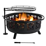 Sunnydaze Large All Star Fire Pit Bowl - Black Steel Wood Burning Firepit - Portable BBQ Cooking Grate and Spark Screen - 30 Inch - Easy to Assemble - Outdoor Patio and Backyard Use