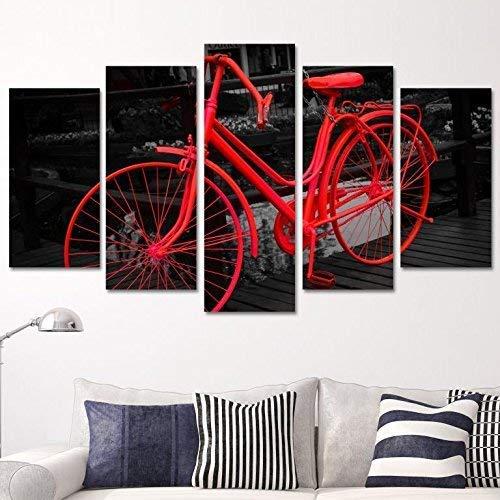 Bedibuy 5-delige afbeelding op MDF-plaat De rode fiets decoratie wand b-4095 foto -5 Parca MDF tablet - KBSMRMiko Ziko Bisiklet
