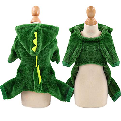 pawstrip Dog Jumpsuit Clothes for Small Medium Dogs and Cats Winter Puppy Pajamas Warm 4 Legs Pet Hoodie Coat Cute Christmas Reindeer and Dinosaur Doggie Costume XS-XXL Green S
