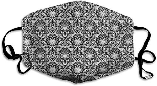 Handgezeichnetes Blumenmuster mit orientalischen Inspirationen Spitzenblütenblätter Wiederverwendbare Gesichtsmaske Sturmhaube Waschbare Nasenmundabdeckung für Männer und Frauen