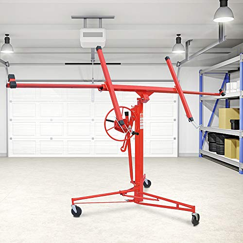 Drywall Lift Panel 11'Heavy Duty Lift Drywall Panel Hoist,Jack Lifter Jack Rolling Caster Wheel Drywall Lift Construction Tools,Red
