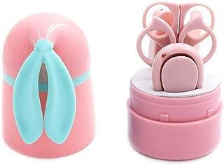 YUEMING Bebé Cortauñas Conjunto 5 en 1 Profesional Cuidado Manicura Infantiles Recién Nacidos: Cortauñas Tijeras para el cabello Pinzas Limas de uñas, recortador de cabello de nariz (rosa)