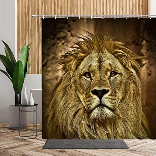 MIKUAM Cortina de la duchaCortina de Ducha de Animales Salvajes Jirafa Cougar Tigre Oso fotografía Fondo Impermeable Cortina de baño mampara de bañera con Gancho