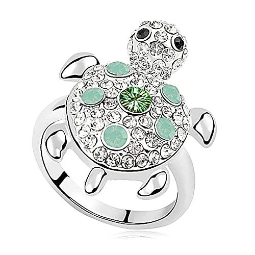 YANGYUE Moda, Cristales de promoción de Swarovski, Bonitos Anillos de Tortuga para Mujeres y Hombres, Anillo Decorativo para Dedo, joyería