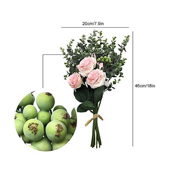 Aisamco Ramo Artificial Flores Surtidas Ramas de Eucalipto Rosa Falsa Bayas Artificiales 46cm de Altura para Mesa…