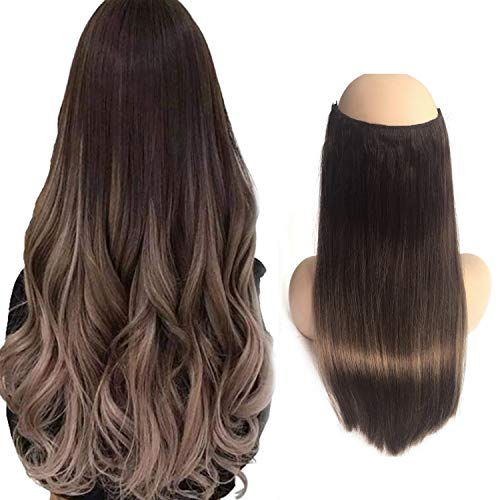 22 inches Halo Human Hair Extensions Invisible Wire Color #4 Medium Brown fading to #4 Ash Brown Halo Remy Hair Extension 100g Per Set
