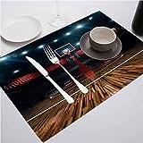 FloraGrantnan Manteles individuales fáciles de limpiar para la mesa de comedor, sala de adolescentes, básquetbol profesional, estadio B, para decoración de fiestas, cocina, comedor, juego de 4