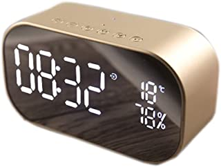 Wireless Bluetooth Speaker, LED Alarm Clock with FM Radio Mirror Display Support Aux TF USB Music Player Wireless for Office Home,Gold