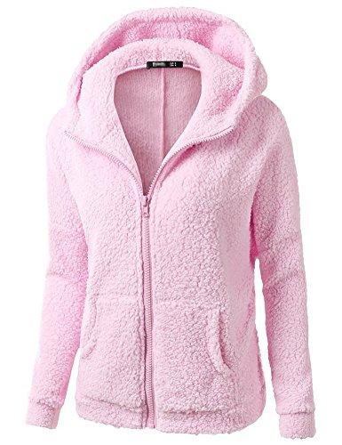 Minetom Frauen Damen Montana Mikro Fleece Jacke Kapuze Pullover Kuschelig Warm Zipper Hoodie Outwear Oberteile Rosa DE 38