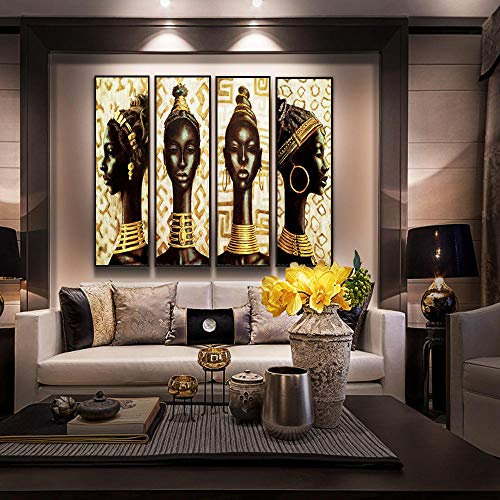 Vintage koningin met gouden oorbel en ketting vrouw olieverfschilderij op posters en prints Scandinavische kunst aan de muur foto ; 30x60cmx4pcs geen frame