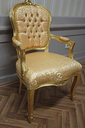LouisXV sedia antica, barocca, soffiare dorato, broccato d'oro MkCh0082
