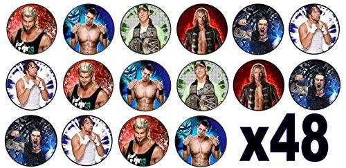 Mini Discs Essbare Mini-Oblaten, Motiv: WWE / Wrestling, 3cm, Tortendekoration, nicht vorgeschnitten, 48 Stück