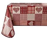 Vinilla - Mantel de vinilo fácil de limpiar, diseño de corazón rojo, 140 x 140 cm