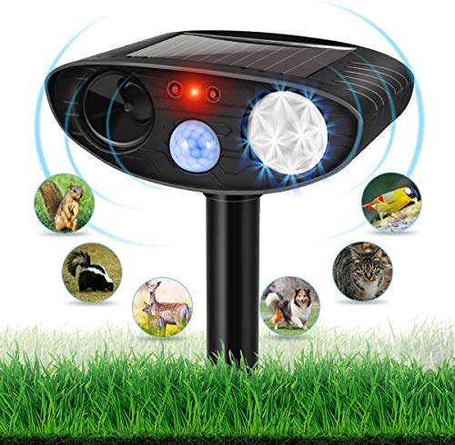 Dog Repellent Ultrasonic, Outdoor Solar Powered and Weatherproof Ultrasonic Repeller with PIR Sensor for Cats, Dogs, Birds and More (Black)