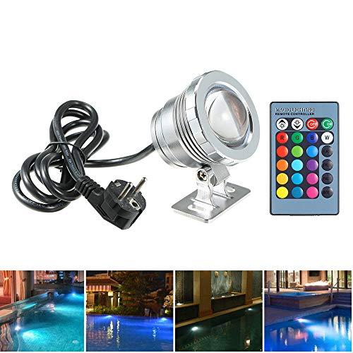 Lixada AC85-265V 10W RGB LED Unterwasserlicht Tauchlampe mit Fernbedienung 16 Farben 4 Lichteffekte IP68 Wasserdicht Design für Pool Aquarium Brunnen Weihnachten Festival Hochzeitsfunktion (Silber)