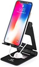 Adjustable Cell Phone Stand, ToBeoneer Desk Tablet Holder, Large Size [Upgraded] Aluminum Solid Dual Angle Charging Cradle Dock for iPhone XR XS 9 8 7 6 Plus iPad Home Office Décor Accessories (Black)
