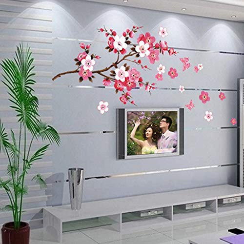 Boomli Beautiful Flowers Wall Stickers Cherry Blossom DIY Home Decoration Cherry Tree Tv Sofa Living Room Bedroom Mobile Wallpaper
