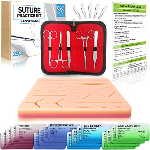Suture Practice 29 Piece Tool Kit   Online How To Suture Video Course   Sutures Training Manual   Doctor, Nurse, Surgeon, Dentist, Veterinary, Medical Student, Practice Pad and Teaching Supplies
