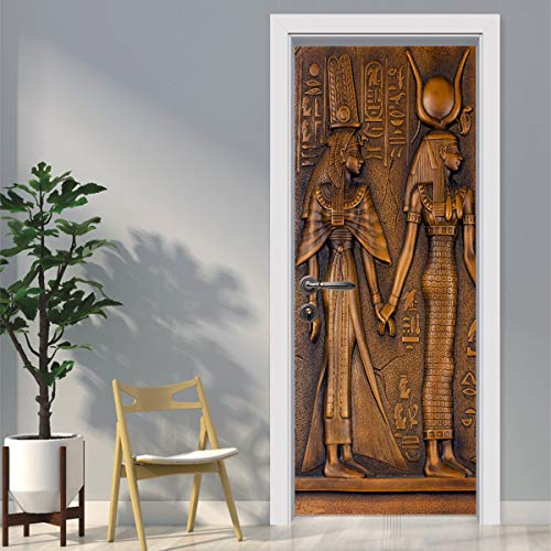 Powcan Door Mural 3D Egyptian Pharaoh Door Wallpaper Removable Self-Adhesive Door Decal Door Art Door Wall Stickers Mural Wallpaper DIY Office Home Decor Poster Decoration, 77 X 200CM