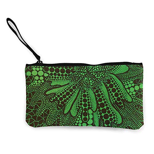 XCNGG Monederos Bolsa de Almacenamiento Shell Avant Garde Art Green Plant Canvas Coin Purse with Zipper Coin Wallet Multi-Function Small Purse Cosmetic Bags For Women Men