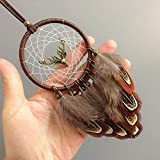 Handcraft Dream Catcher Feather Double-Sided Deer for Car Interior Rear View Mirror Hanger Car Accessories Pendant Interior Decoration Hanging Ornament Dreamcatcher Bedroom Bohemian Craft Gift Kids
