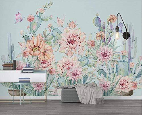 Fototapete 3D Effekt Tapete 250x175cm Frischer Und Schöner Handgemalter Kaktus Tapeten 3D Wandbild Wohnzimmer Schlafzimmer Büro Design Wanddeko