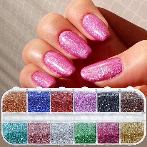 MEIYY Décoration des ongles 12 Couleur/Cas Nail Glitter Paillettes Poudre D'Ongle Shimmer Mirror Poussière Diy Nail Art Pigment Decor