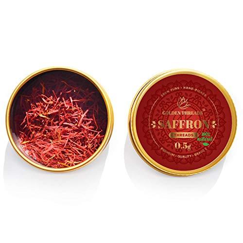 Golden Threads, Zafferano in Pistilli - fili interi - per cucinare, Spezia migliore per paella, riso, risotto, tè - Prima Qualità - Certificato - Lotto sigillato 0.5g