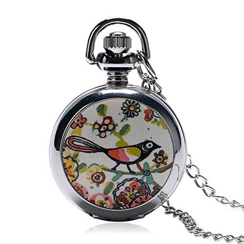 Caja de Acero Reloj de Bolsillo de Plata Larga precisa pequeño Collar de Cadena de Aves de Bolsillo del Espejo del Reloj Pendiente de Las Mujeres de Acero Regalo de la Manera Linda de Steampunk Xping