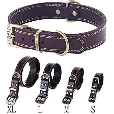 Leather Dog Collar Genuine Leather Alloy Hardware Double D-Ring, 5 Size for Small Medium Large X-Large Dogs
