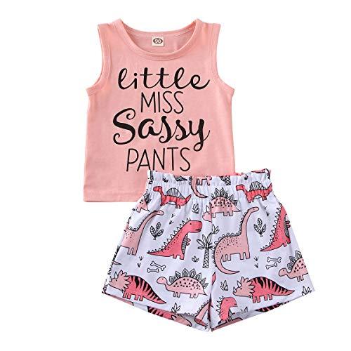 Miaouyo - Conjunto de ropa de pijama para niña, camiseta sin mangas, estampado de letras + pantalones cortos elásticos con dibujos dinosaurios rosa 2-3 Años