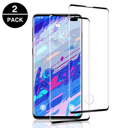Aspiree 2 Unidades Vidrio Templado Samsung Galaxy S10 Plus, Protector Pantalla Samsung Galaxy S10 Plus [Funda Compatible] Cristal Templado con [Anti-Huella/Anti-Burbujas] [Premium 9H Definición]
