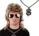 3er Spar-Set - Vokuhila Perücke + Sonnenbrille + Dollar-Kette - Blonde Vokuhila Perücke für Herren und Pilotenbrille zu Fasching Karneval - Blond Fokuhila...