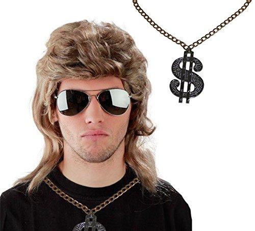 3er Spar-Set - Vokuhila Perücke + Sonnenbrille + Dollar-Kette - Blonde Vokuhila Perücke für Herren und Pilotenbrille zu Fasching Karneval - Blond Fokuhila Proll Perücken Bad Taste Party