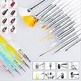 Ecloud Shop 20pcs la manicura pedicura Belleza Pintura Dibujo Marbling Detalle de cepillo del polaco de la pluma que puntea el sistema de herramienta de acrílico falsas naturales de uñas de gel