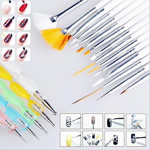 Ecloud Shop® 20pcs la manicura pedicura Belleza Pintura Dibujo Marbling Detalle de cepillo del polaco de la pluma que puntea el sistema de herramienta de acrílico falsas naturales de uñas de gel